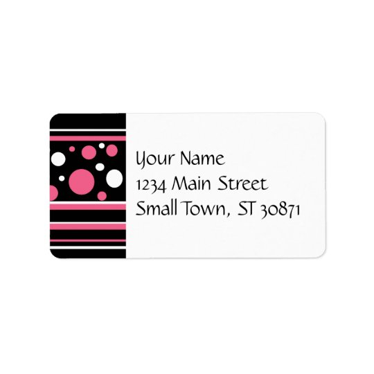 Cute Pink Black White Stripes Polka Dots Pattern Label