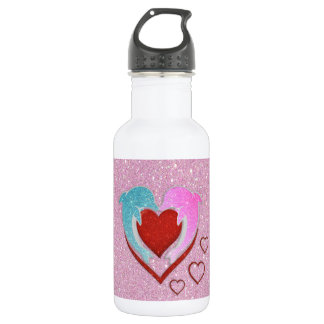 Cute pink blue dolphins holding a red heart 532 ml water bottle
