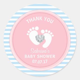 Cute Pink Blue White Baby Shower Gender Reveal Classic Round Sticker