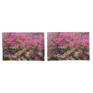 Cute Pink Bougainvillea Bush Print Pillow Cases