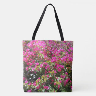 Cute Pink Bougainvillea Bush Print Tote Bag