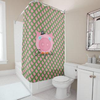 Cute Pink Boy farm pig shower curtain