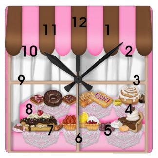 Cute Pink Brown Cupcake Sweet Bakery Wall Clocks