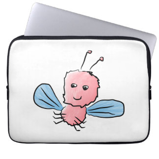 Cute Pink Bug Flying Insect Laptop Sleeve