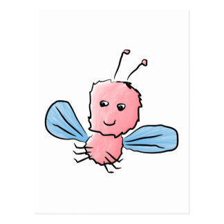 Cute Pink Bug Flying Insect Post Cards
