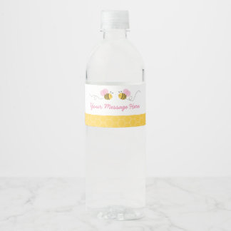 Cute Pink Bumble Bee Baby Shower Water Bottle Label