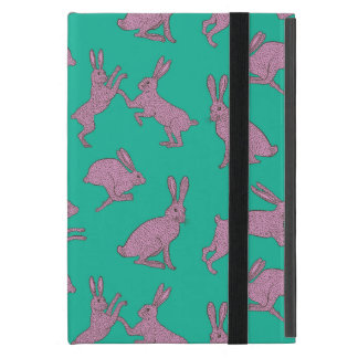 Cute Pink Bunnies on Green Background Ipad Stand iPad Mini Cover