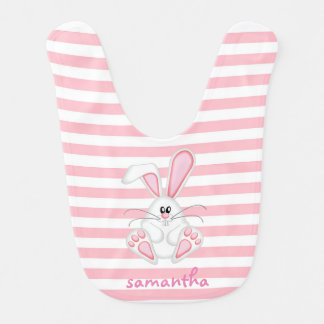 cute pink bunny and stripes baby bib