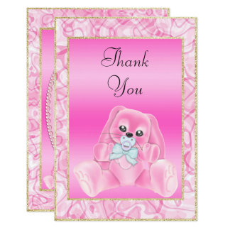 Cute Pink Bunny  Baby Shower Thank You Card