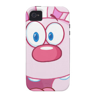 Cute Pink Bunny Cartoon Character Case-Mate iPhone 4 Case