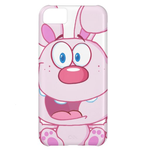 Cute Pink Bunny Cartoon Character Cover For iPhone 5C