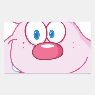 Cute Pink Bunny Cartoon Character Rectangular Sticker