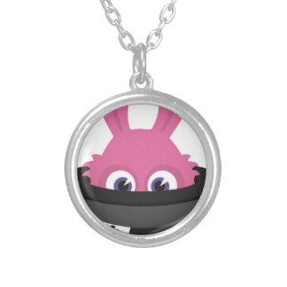 Cute pink bunny for Happy Easter Silver Plated Necklace