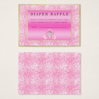 "Cute Pink Bunny ""Raffle"" Baby Shower Business Card"