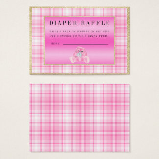"""Cute Pink Bunny """"Raffle"""" Baby Shower Business Card"""