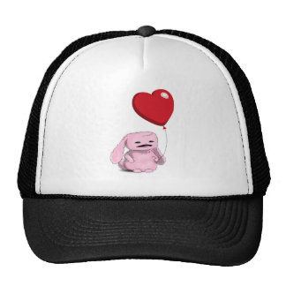 Cute Pink Bunny with Balloon Heart Cap