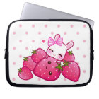 Cute pink bunny with kawaii strawberries laptop sleeve
