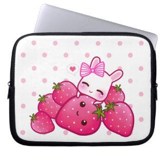 Cute pink bunny with kawaii strawberries laptop sleeve
