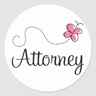 Cute Pink Butterfly Attorney Round Sticker
