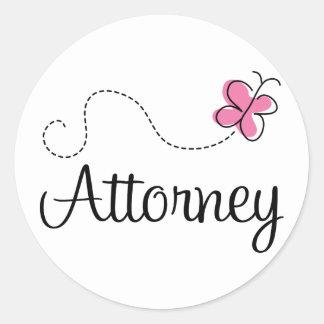 Cute Pink Butterfly Attorney Round Sticker