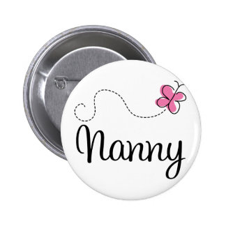 Cute Pink Butterfly Nanny 6 Cm Round Badge
