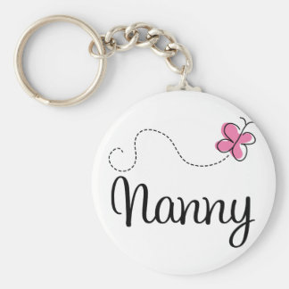 Cute Pink Butterfly Nanny Basic Round Button Key Ring