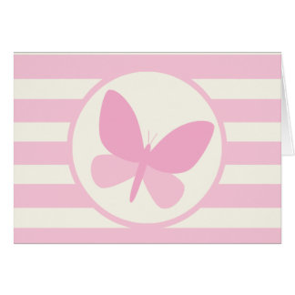 Cute Pink Butterfly on Retro Stripes Cards
