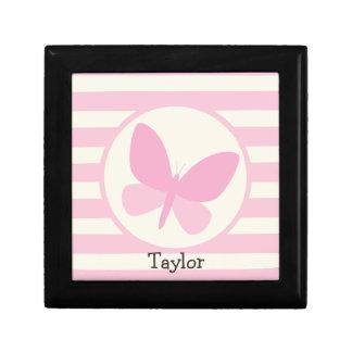 Cute Pink Butterfly on Retro Stripes Keepsake Box