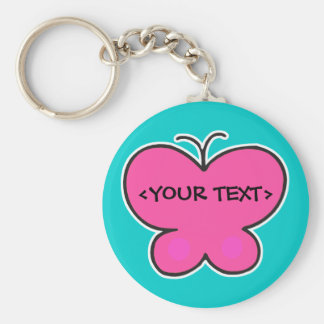 cute pink butterfly, <YOUR TEXT> Basic Round Button Key Ring