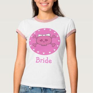 Cute Pink Cartoon Bride Skull Tee Shirt