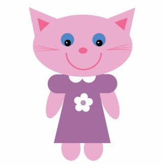 Cute pink cartoon cat brooch / pin photo sculpture badge