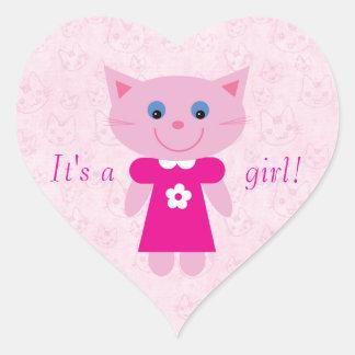 Cute Pink Cartoon Cat Its A Girl New Baby Heart Sticker