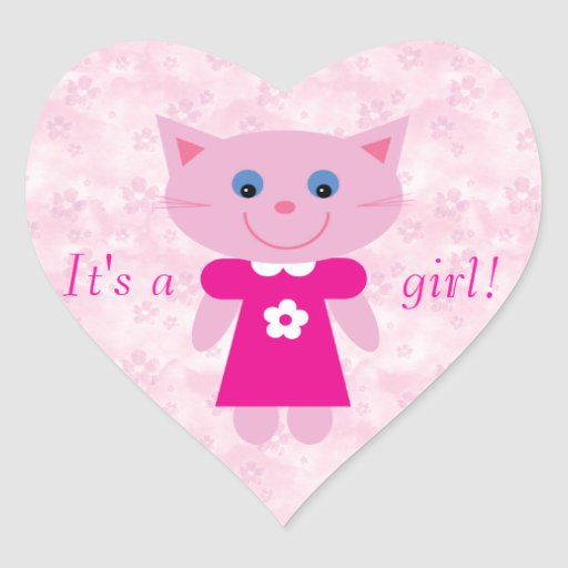 Cute Pink Cartoon Cat Its A Girl New Baby Heart Stickers