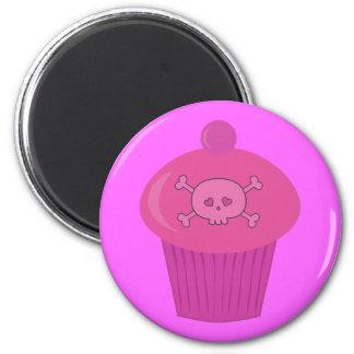 Cute Pink Cartoon Cupcake & Skull 6 Cm Round Magnet