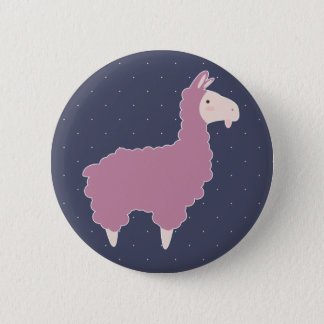 Cute Pink Cartoon Llama & White Dots 6 Cm Round Badge