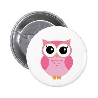 Cute pink cartoon owl 6 cm round badge
