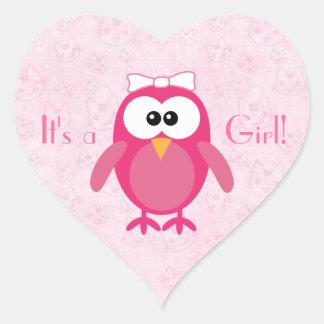 Cute Pink Cartoon Owl & Cats Its A Girl New Baby Heart Sticker
