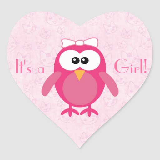 Cute Pink Cartoon Owl & Cats Its A Girl New Baby Heart Stickers