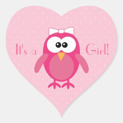 Cute Pink Cartoon Owl Its A Girl New Baby Sticker