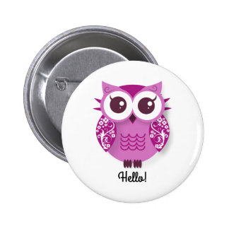 Cute pink cartoon owl personalized text box 6 cm round badge