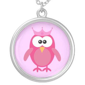 Cute Pink Cartoon Owl Princess With Crown Custom Necklace