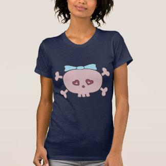 Cute Pink Cartoon Skull With Ribbon T-Shirt
