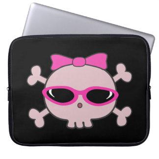 Cute Pink Cartoon Skull with Sunglasses Laptop Sleeves