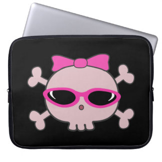 Cute Pink Cartoon Skull with Sunglasses Laptop Sleeves