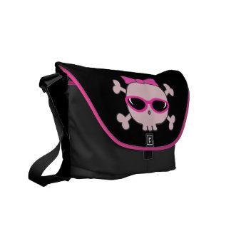 Cute Pink Cartoon Skull With Sunglasses & Ribbon Messenger Bags