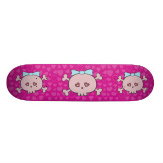 Cute Pink Cartoon Skulls With Ribbons & Hearts Skate Board Deck