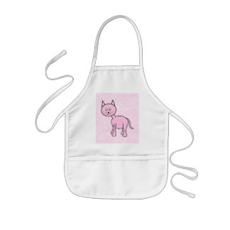 Cute Pink Cat Pink Background Cartoon Apron