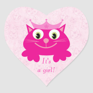 Cute Pink Cat With Crown Its A Girl New Baby Heart Sticker