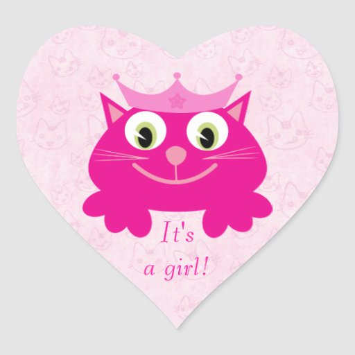 Cute Pink Cat With Crown Its A Girl New Baby Sticker