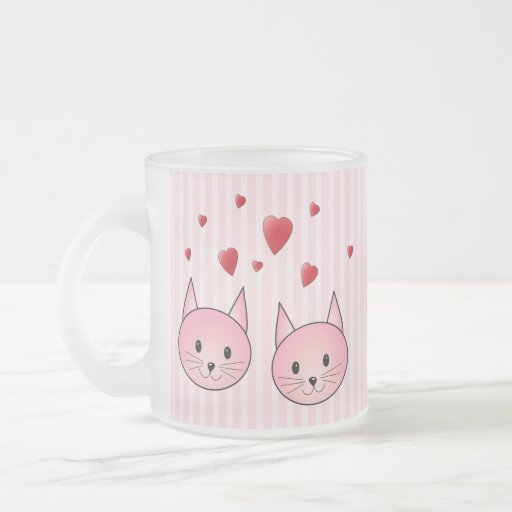 Cute Pink Cats, with Red Love Hearts. Coffee Mugs